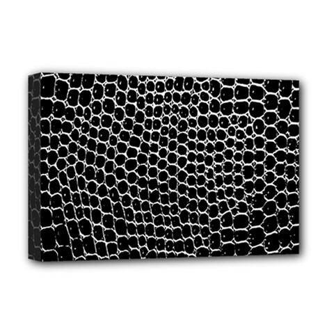 Black White Crocodile Background Deluxe Canvas 18  X 12   by Amaryn4rt