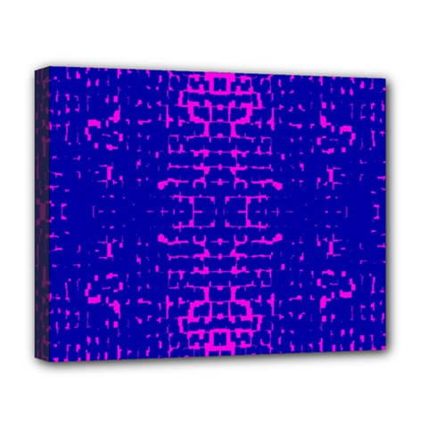 Blue And Pink Pixel Pattern Deluxe Canvas 20  X 16   by Amaryn4rt