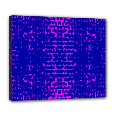 Blue And Pink Pixel Pattern Deluxe Canvas 24  X 20   by Amaryn4rt