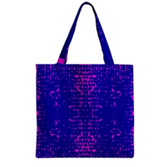 Blue And Pink Pixel Pattern Grocery Tote Bag by Amaryn4rt