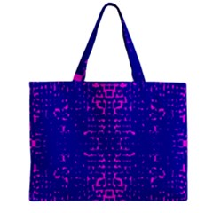 Blue And Pink Pixel Pattern Zipper Mini Tote Bag by Amaryn4rt