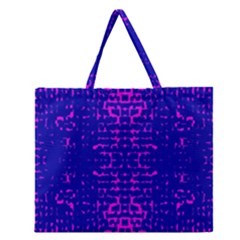 Blue And Pink Pixel Pattern Zipper Large Tote Bag by Amaryn4rt