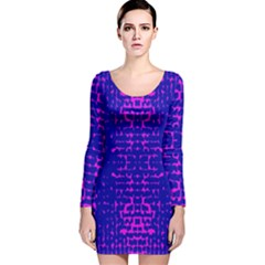 Blue And Pink Pixel Pattern Long Sleeve Velvet Bodycon Dress by Amaryn4rt