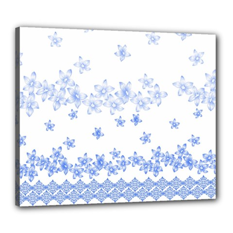 Blue And White Floral Background Canvas 24  X 20  by Amaryn4rt