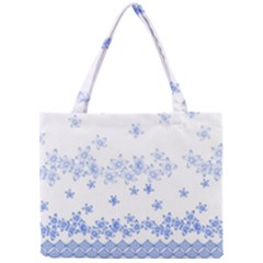 Blue And White Floral Background Mini Tote Bag by Amaryn4rt