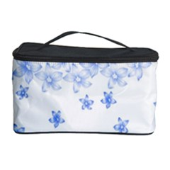 Blue And White Floral Background Cosmetic Storage Case by Amaryn4rt
