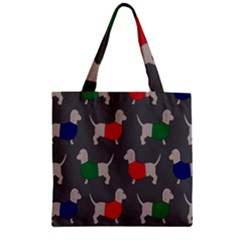 Cute Dachshund Dogs Wearing Jumpers Wallpaper Pattern Background Zipper Grocery Tote Bag by Amaryn4rt