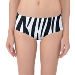 Seamless Zebra A Completely Zebra Skin Background Pattern Mid Waist Bikini Bottoms by Amaryn4rt