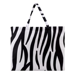 Seamless Zebra A Completely Zebra Skin Background Pattern Zipper Large Tote Bag