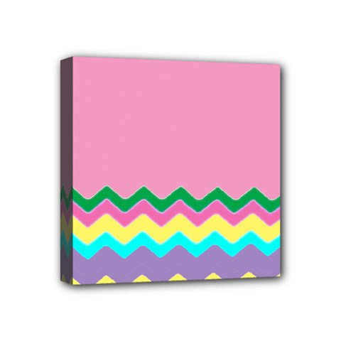 Easter Chevron Pattern Stripes Mini Canvas 4  x 4