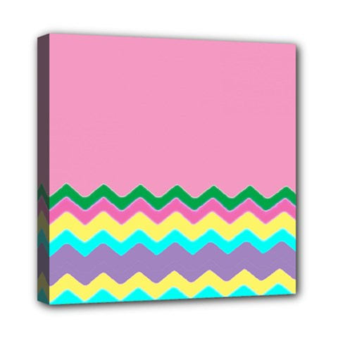 Easter Chevron Pattern Stripes Mini Canvas 8  x 8