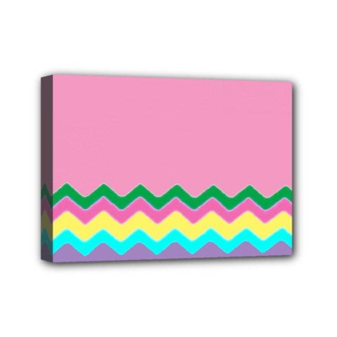 Easter Chevron Pattern Stripes Mini Canvas 7  x 5