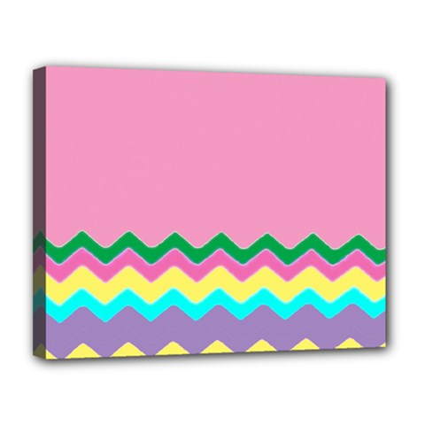 Easter Chevron Pattern Stripes Canvas 14  x 11