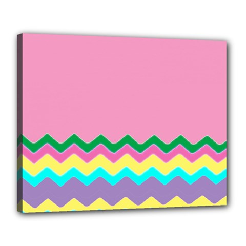 Easter Chevron Pattern Stripes Canvas 20  X 16  by Amaryn4rt