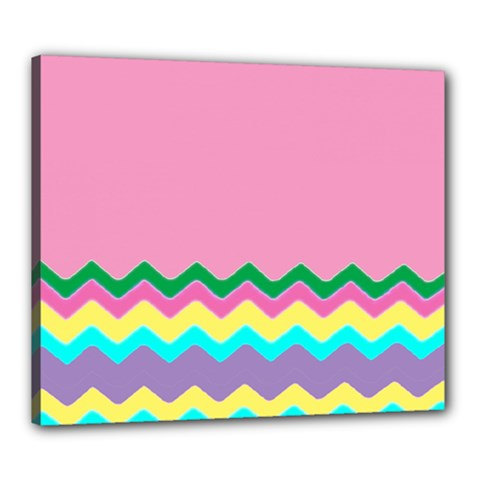Easter Chevron Pattern Stripes Canvas 24  x 20