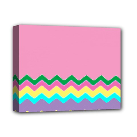 Easter Chevron Pattern Stripes Deluxe Canvas 14  x 11