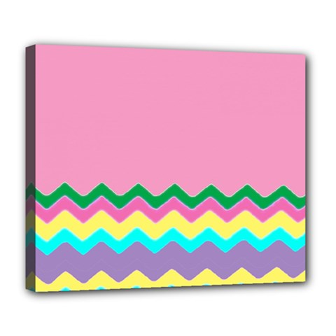 Easter Chevron Pattern Stripes Deluxe Canvas 24  x 20