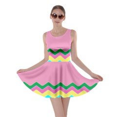 Easter Chevron Pattern Stripes Skater Dress