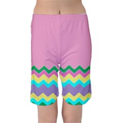 Easter Chevron Pattern Stripes Kids  Mid Length Swim Shorts