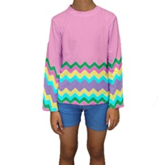 Easter Chevron Pattern Stripes Kids  Long Sleeve Swimwear by Amaryn4rt