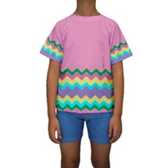 Easter Chevron Pattern Stripes Kids  Short Sleeve Swimwear