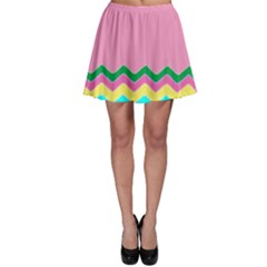 Easter Chevron Pattern Stripes Skater Skirt