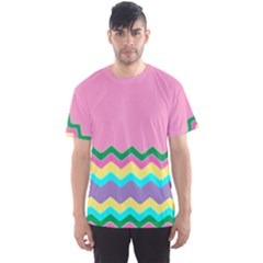 Easter Chevron Pattern Stripes Men s Sport Mesh Tee by Amaryn4rt