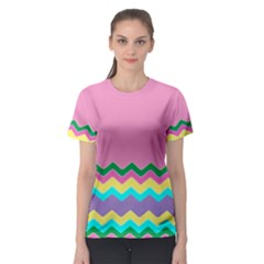 Easter Chevron Pattern Stripes Women s Sport Mesh Tee