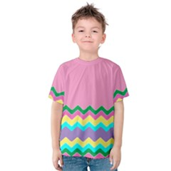 Easter Chevron Pattern Stripes Kids  Cotton Tee by Amaryn4rt