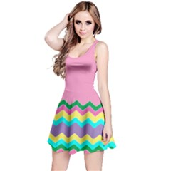 Easter Chevron Pattern Stripes Reversible Sleeveless Dress