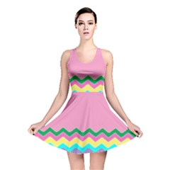 Easter Chevron Pattern Stripes Reversible Skater Dress