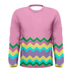 Easter Chevron Pattern Stripes Men s Long Sleeve Tee
