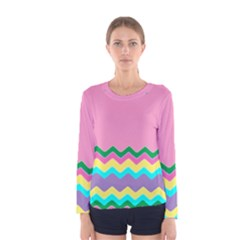 Easter Chevron Pattern Stripes Women s Long Sleeve Tee