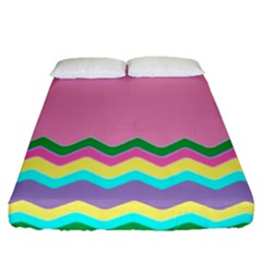 Easter Chevron Pattern Stripes Fitted Sheet (Queen Size)