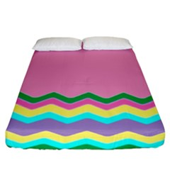 Easter Chevron Pattern Stripes Fitted Sheet (King Size)