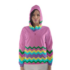 Easter Chevron Pattern Stripes Hooded Wind Breaker (Women)