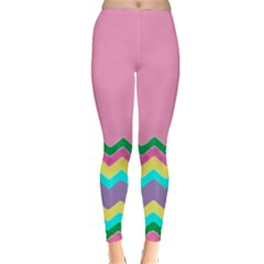 Easter Chevron Pattern Stripes Classic Winter Leggings