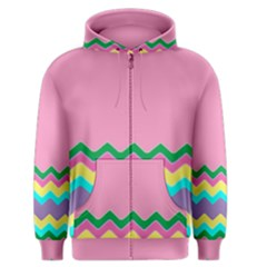 Easter Chevron Pattern Stripes Men s Zipper Hoodie
