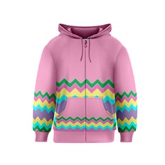 Easter Chevron Pattern Stripes Kids  Zipper Hoodie