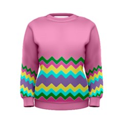 Easter Chevron Pattern Stripes Women s Sweatshirt