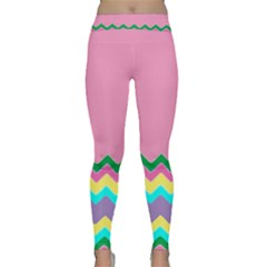 Easter Chevron Pattern Stripes Classic Yoga Leggings by Amaryn4rt