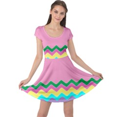 Easter Chevron Pattern Stripes Cap Sleeve Dresses by Amaryn4rt