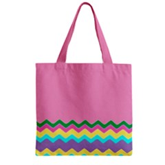 Easter Chevron Pattern Stripes Zipper Grocery Tote Bag