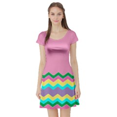 Easter Chevron Pattern Stripes Short Sleeve Skater Dress