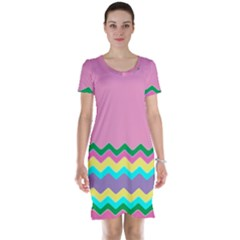 Easter Chevron Pattern Stripes Short Sleeve Nightdress by Amaryn4rt