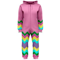Easter Chevron Pattern Stripes Hooded Jumpsuit (Ladies)