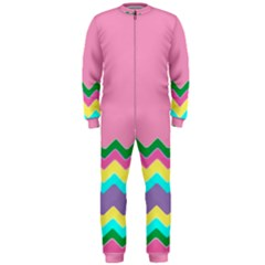 Easter Chevron Pattern Stripes OnePiece Jumpsuit (Men)
