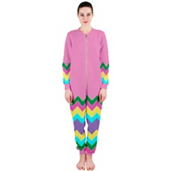 Easter Chevron Pattern Stripes OnePiece Jumpsuit (Ladies)