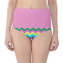 Easter Chevron Pattern Stripes High-Waist Bikini Bottoms by Amaryn4rt