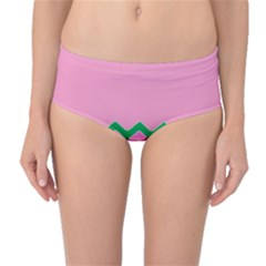 Easter Chevron Pattern Stripes Mid-Waist Bikini Bottoms